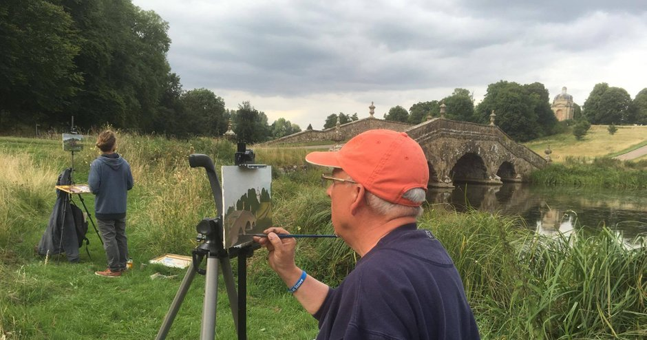 Peter Baker artist on location at Stowe School
